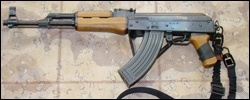 AK47 with SSDII rear attachment points of weapon left side stock folded.