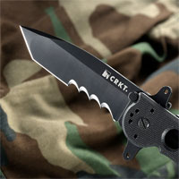 CRKT M16-14SFG Special Forces Knife Shown with an aditional  3 slot rail