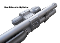 Elzetta ZSM Tactical Shotgun Flashlight Mount show on shotgun with diffrent flashligh